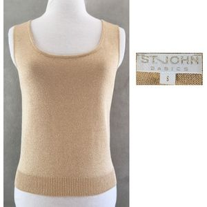 ST JOHN BASICS Gold Shimmer Scoop Neck Tank Top